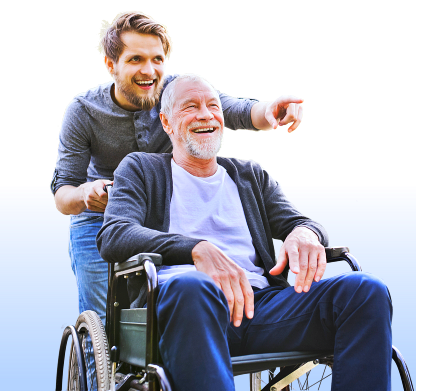 elder man on wheelchair assisted by male caregiver